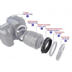 Adaptador Reverso portafiltros 58mm montura Canon EOS