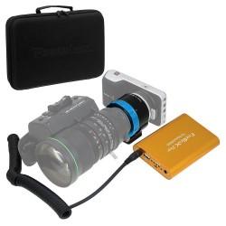 Kit completo PowerLynx adaptador B4 a MFT de Fotodiox con batería y cable