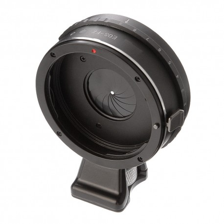 Adapter with diaphragm for Canon EOS lens to Fuji-X with foot