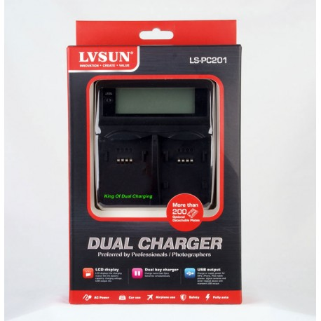 LVSUN Professional Duo LCD Charger for Sony  NP-BX1