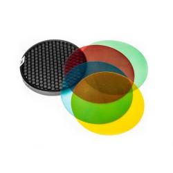 Quadralite Reporter Color Gel Pack & Reflector Grid